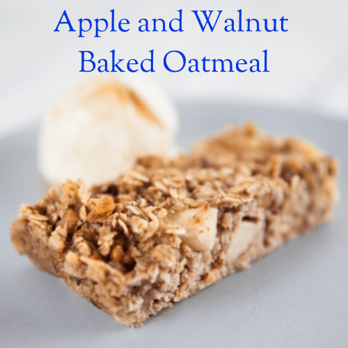 Apple and Walnut Baked Oats with scoop of icecream